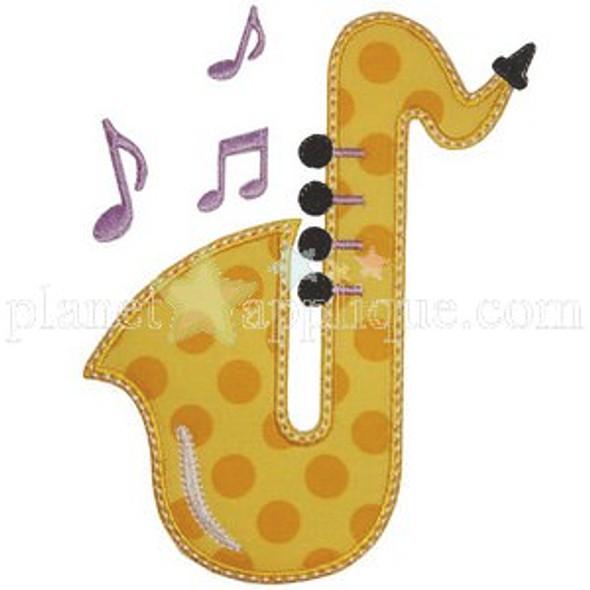 Saxophone Applique Machine Embroidery Design
