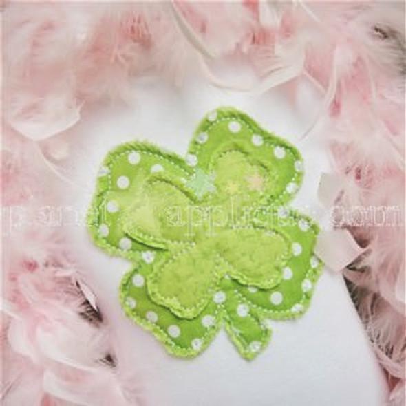 Shabby Clover Applique Machine Embroidery Design