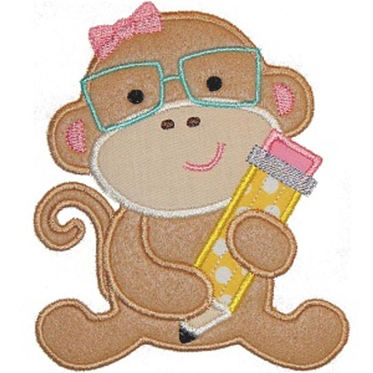 Pencil Monkey Applique