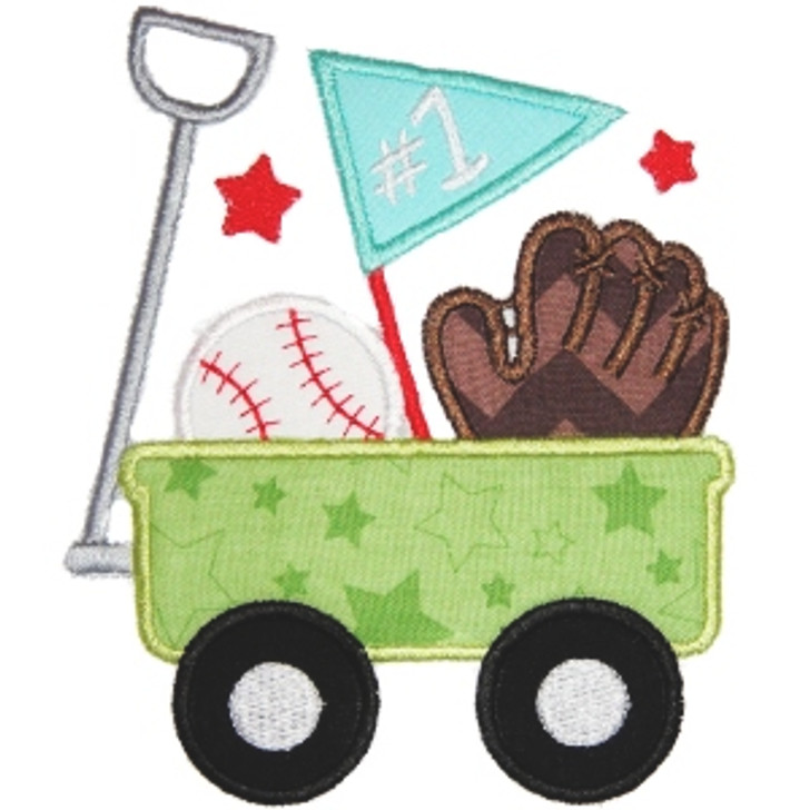Baseball Wagon Applique