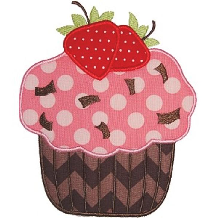 Strawberry Cupcake Applique