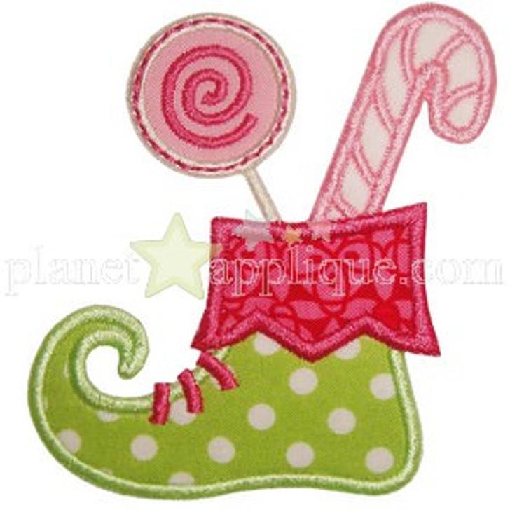 Candy Elf Boot Applique