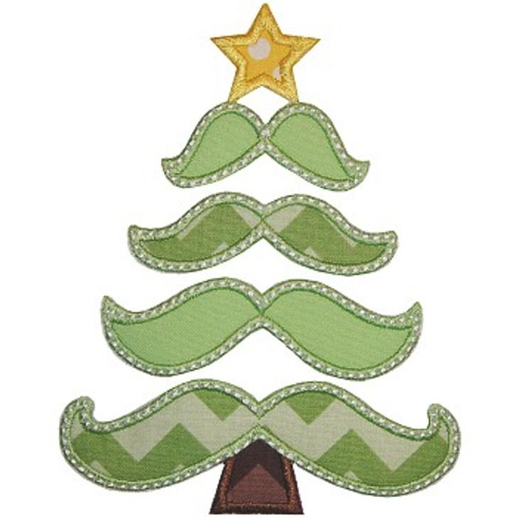 Mustachemas Tree Applique