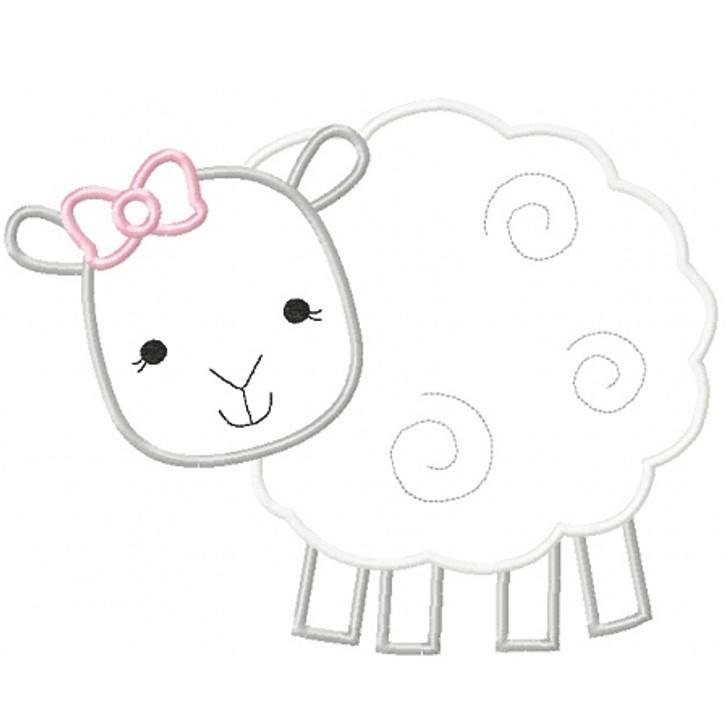 Girly Sheep Applique