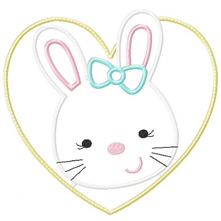 Heart Bunny Patch Applique