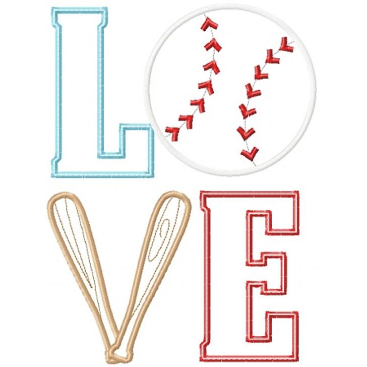 Baseball Love Applique