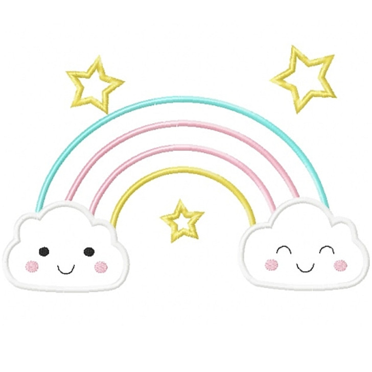 Rainbow and Clouds Applique