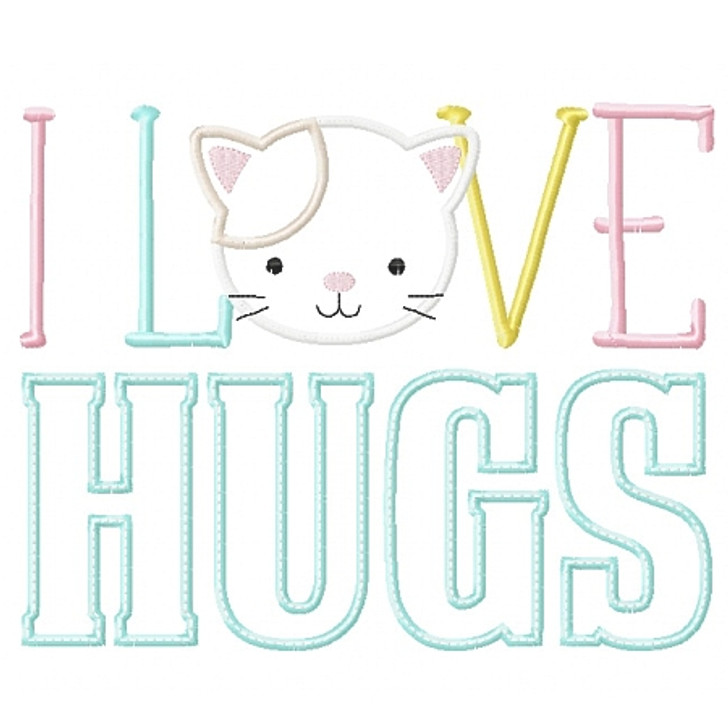 I Love Hugs Kitty Applique