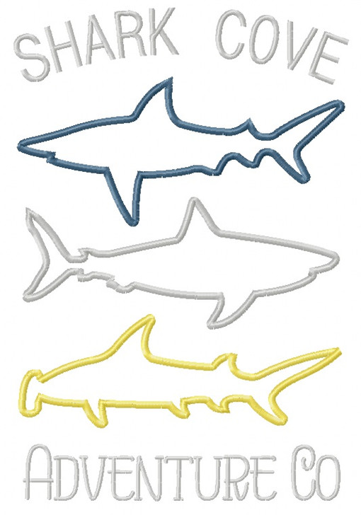 3 Sharks Satin and Zig Zag Applique