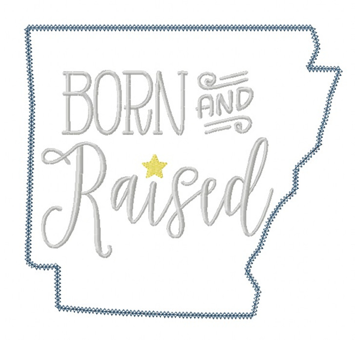 Arkansas Born and Raised Blanket and Vintage Stitch Applique