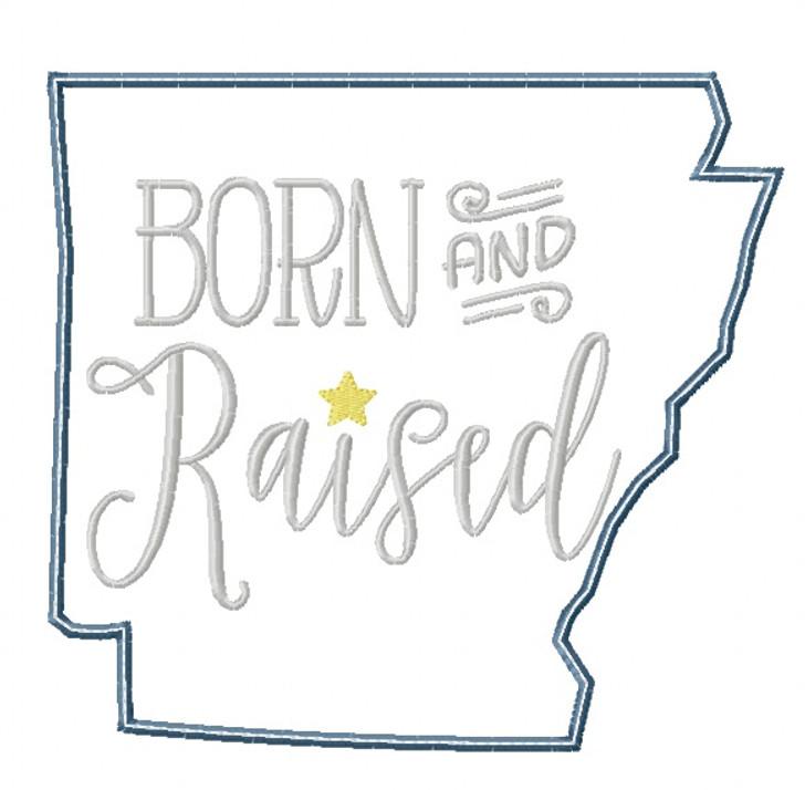 Arkansas Born and Raised Satin and Zig Zag Applique