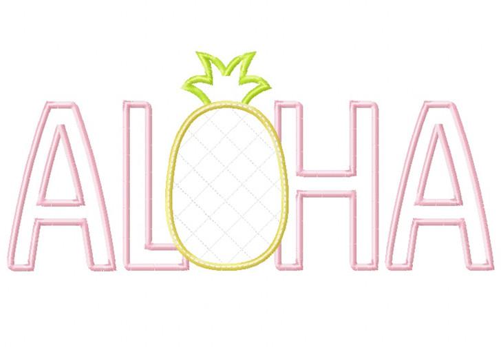 Aloha Pineapple Satin and Zig Zag Applique