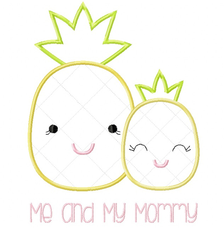 Me and Mommy Pineapple Satin and Zigzag Stitch Applique