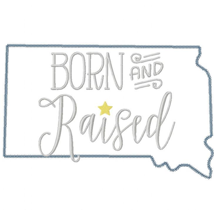 South Dakota Born and Raised Vintage and Blanket Stitch Applique