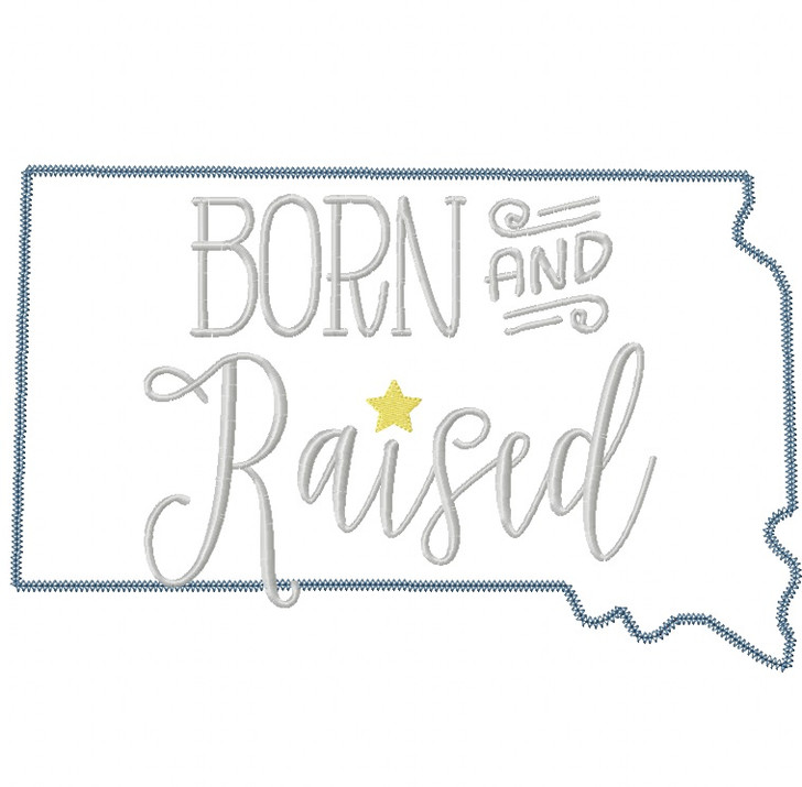 South Dakota Born and Raised Vintage and Blanket Stitch Applique