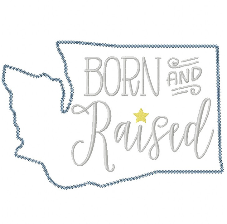 Washington Born and Raised Vintage and Blanket Stitch Applique