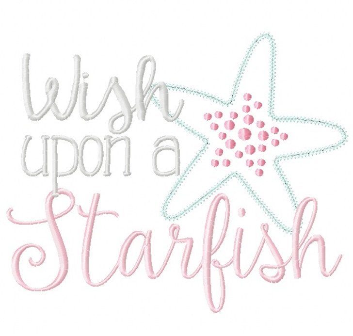 Wish Upon a Starfish Satin and Zigzag Stitch Applique