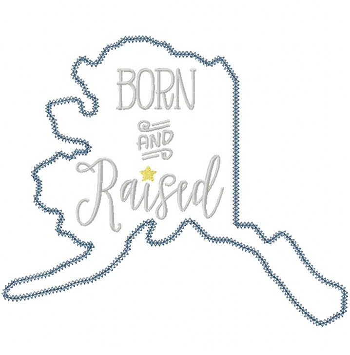 Alaska Born and Raised Vintage and Blanket Stitch Applique