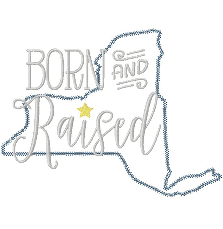 New York Born and Raised Vintage and Blanket Stitch Applique