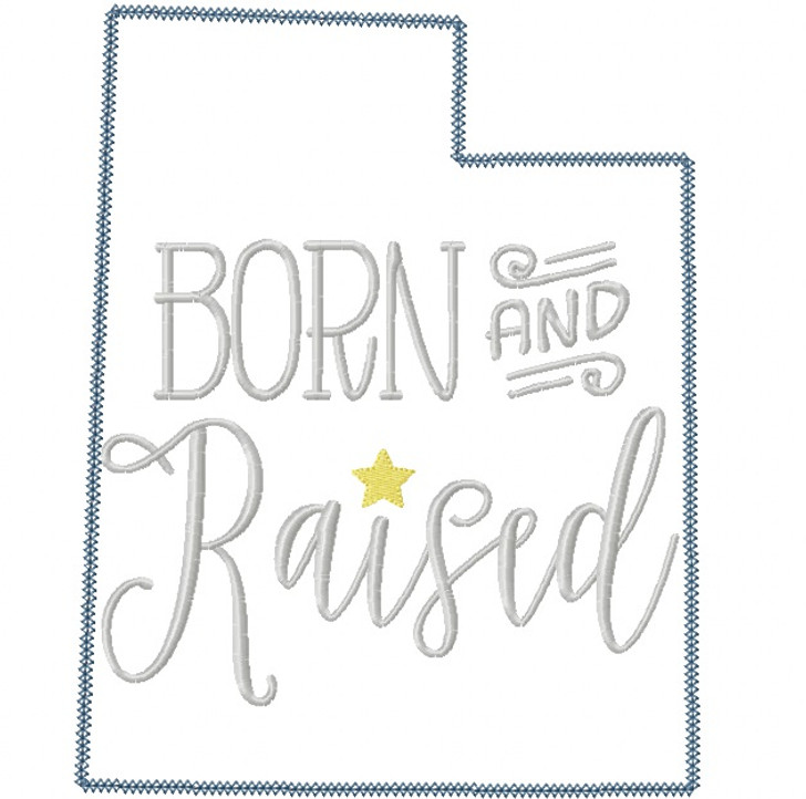 Utah Born and Raised Vintage and Blanket Stitch Applique