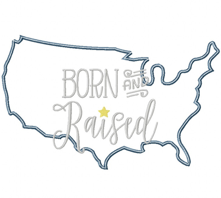 USA Born and Raised Satin and Zigzag Stitch Applique