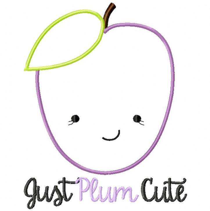Just Plum Cute Satin and Zigzag Stitch Applique