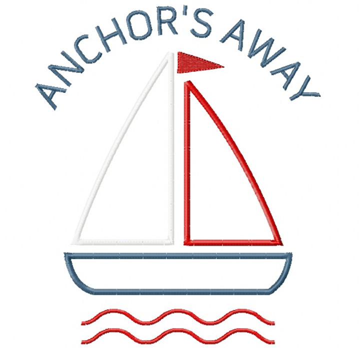 Anchors Away Sailboat Satin and Zigzag Stitch Applique