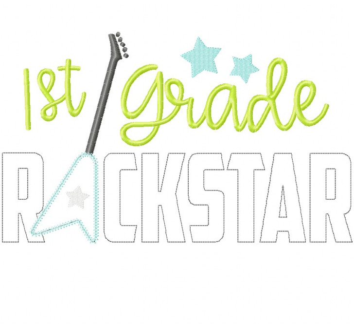 1st Grade Rockstar Vintage and Chain Stitch Applique