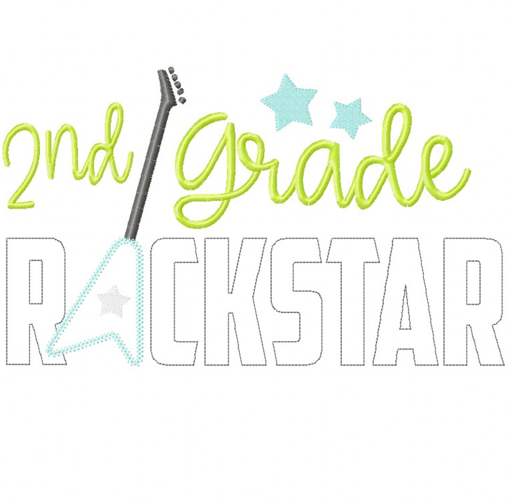 2nd Grade Rockstar Vintage and Chain Stitch Applique