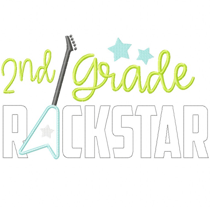 2nd Grade Rockstar Satin and Zigzag Stitch Applique