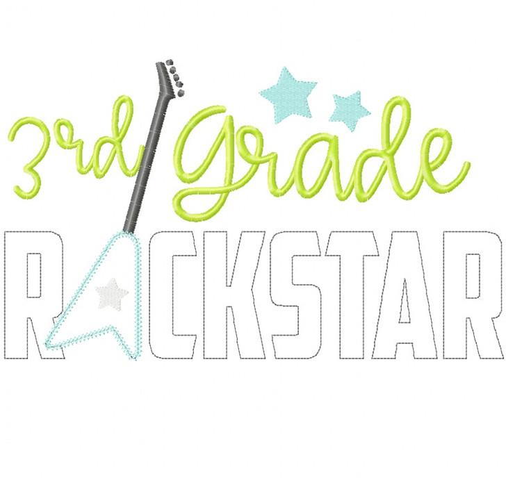 3rd Grade Rockstar Vintage and Chain Stitch Applique