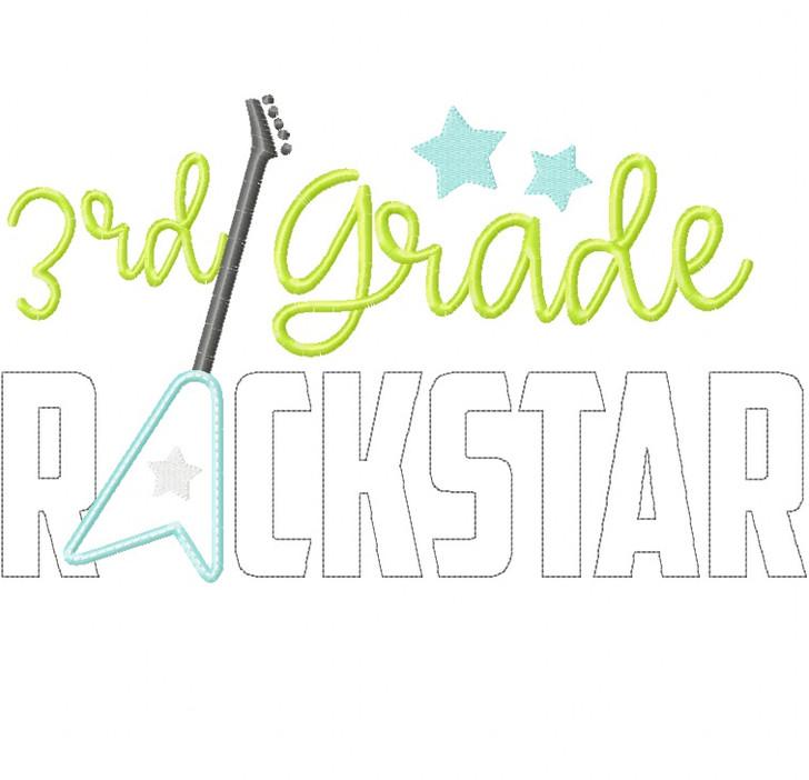 3rd Grade Rockstar Satin and Zigzag Stitch Applique
