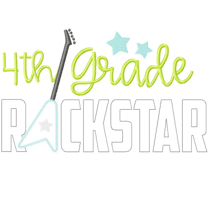 4th Grade Rockstar Vintage and Chain Stitch Applique