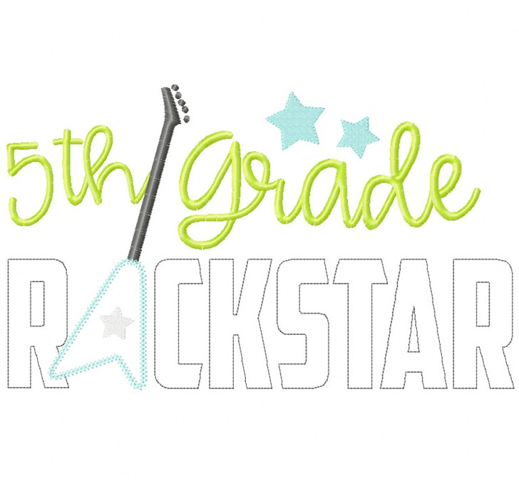 5th Grade Rockstar Vintage and Chain Stitch Applique