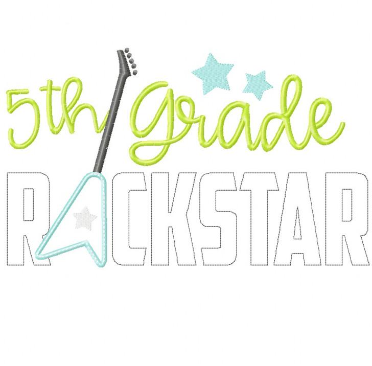 5th Grade Rockstar Satin and Zigzag Stitch Applique