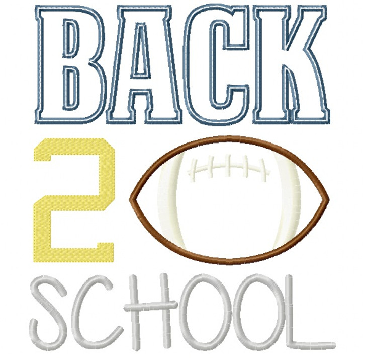 Back 2 School Football Satin and Zigzag Stitch Applique