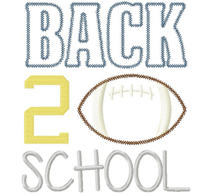Back 2 School Football Vintage and Chain Stitch Applique