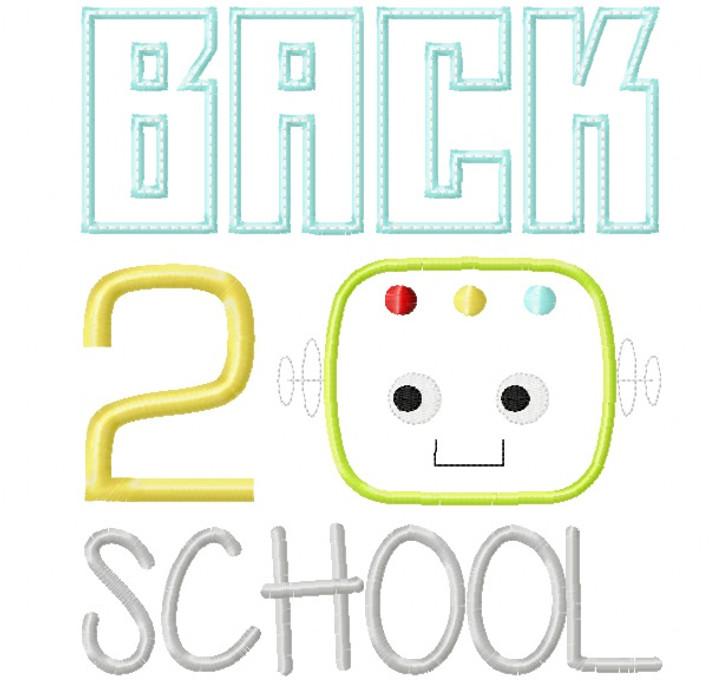 Back 2 School Robot Satin and Zigzag Stitch Applique