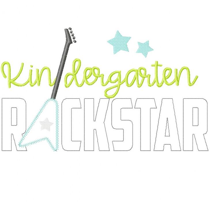 Kindergarten Rockstar Vintage and Chain Stitch Applique