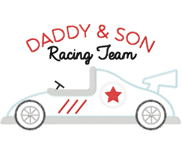 Daddy and Son Racing Team Vintage and Chain Stitch Applique