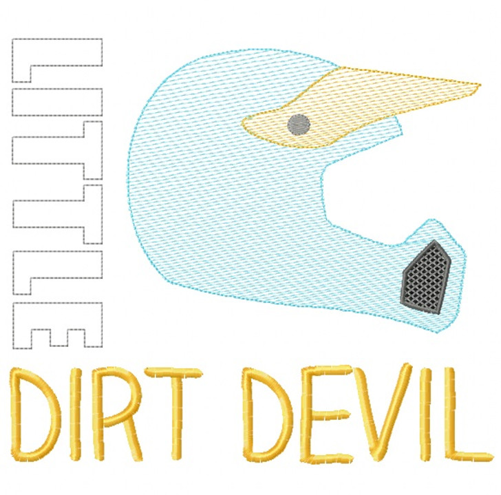 Little Dirt Devil Sketch Embroidery