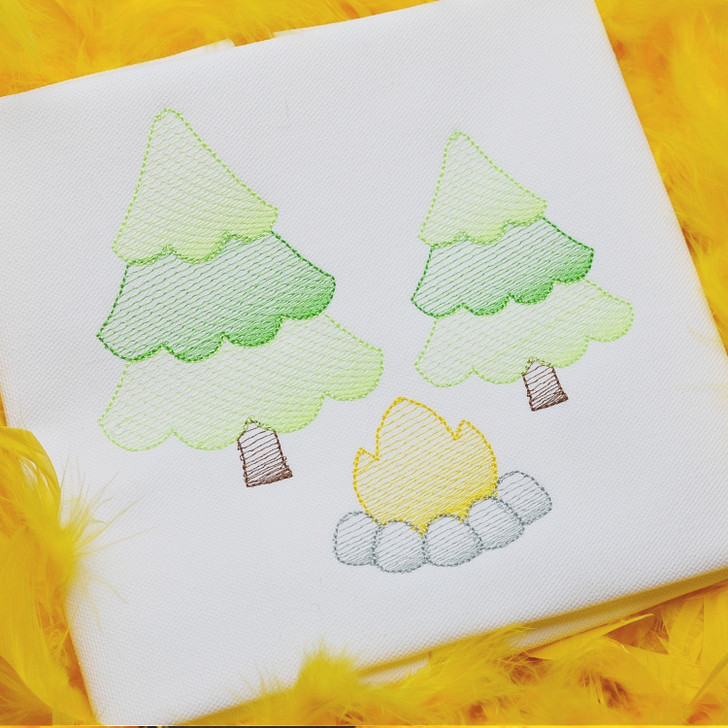 Campfire and Trees Sketch Embroidery