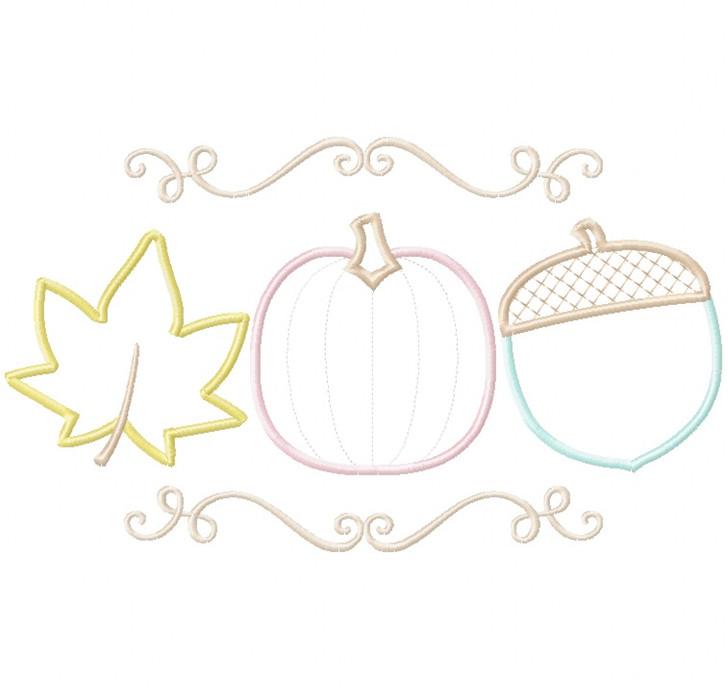 Pumpkin Leaf and Acorn Satin and Zigzag Stitch Applique
