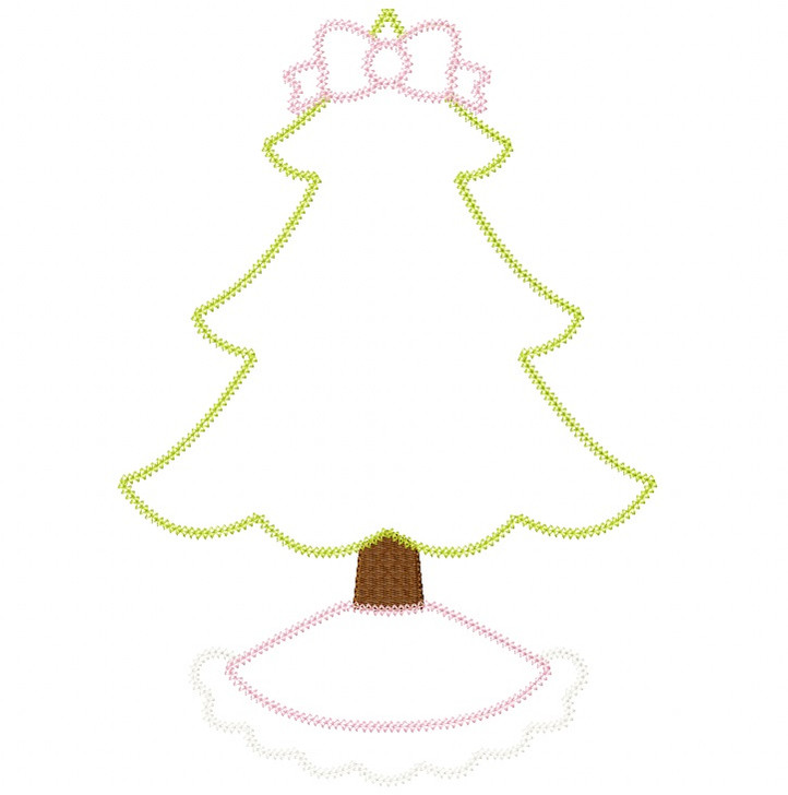 Frilly Christmas Tree Vintage and Chain Stitch Applique