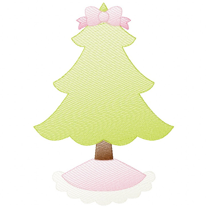Frilly Christmas Tree Sketch and Zigzag Stitch Applique