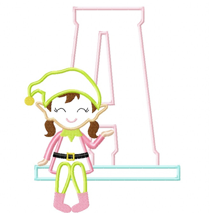 Girl Elf Applique Alphabet