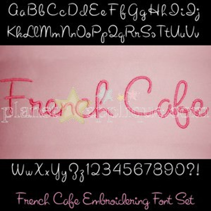 French Cafe Embroidering Font