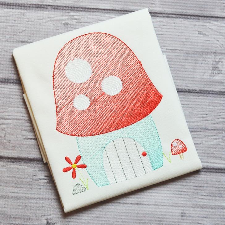Mushroom House Sketch Filled Stitch