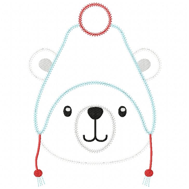 Toboggan Polar Bear Vintage and Chain Stitch