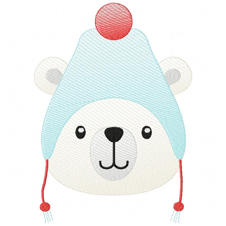 Toboggan Polar Bear Sketch Filled Stitch